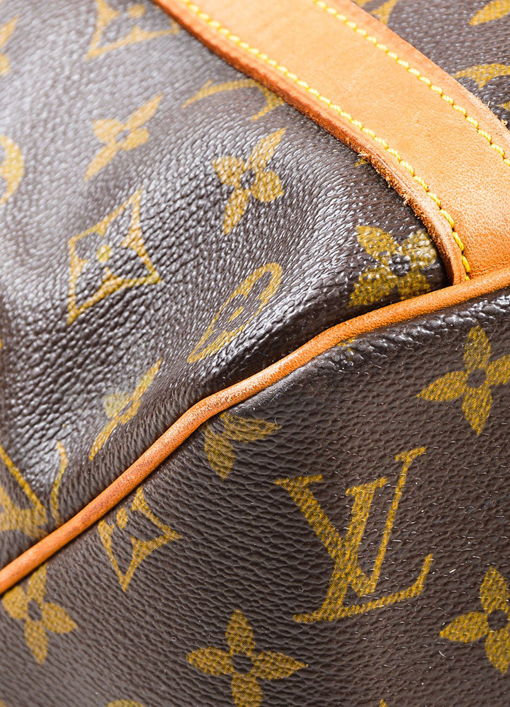 "Louis Vuitton Brown and Tan Monogram Coated Canvas ""Sac Shopping"" Tote Bag Detail"