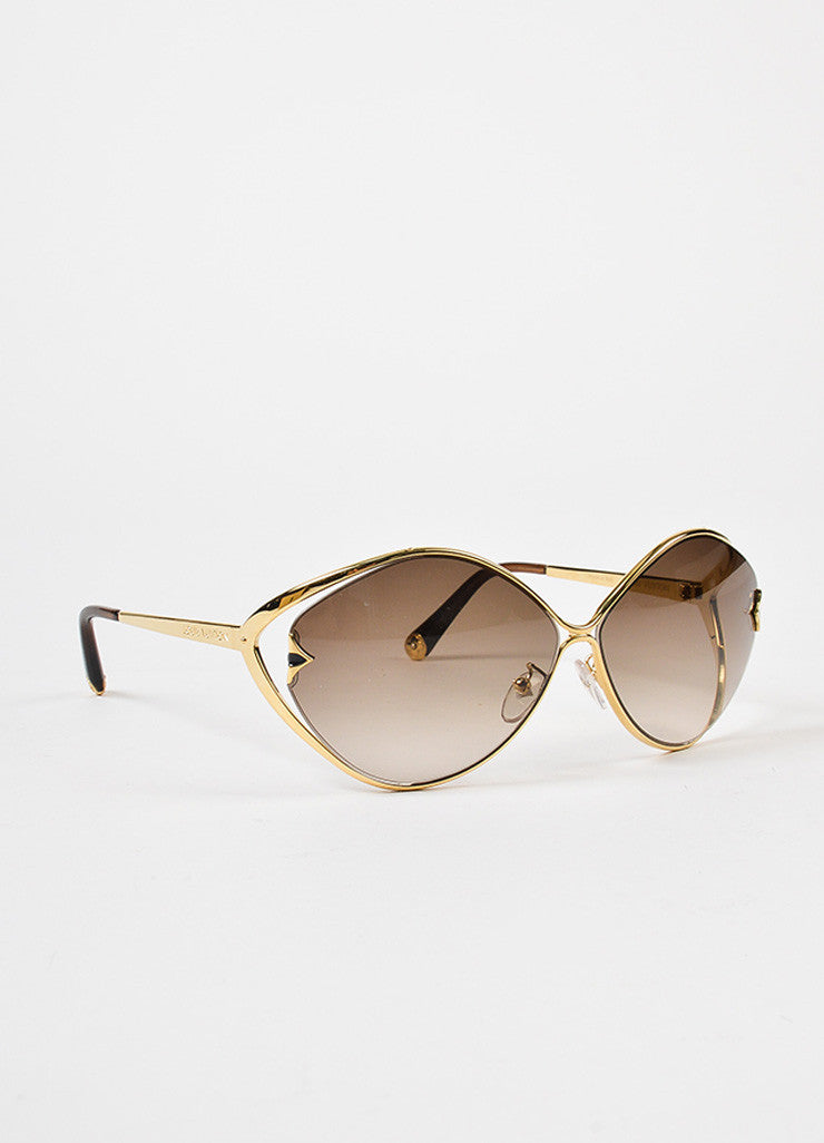 "Louis Vuitton Gold Toned and Brown Glitter ""Laurel"" Sunglasses Sideview"
