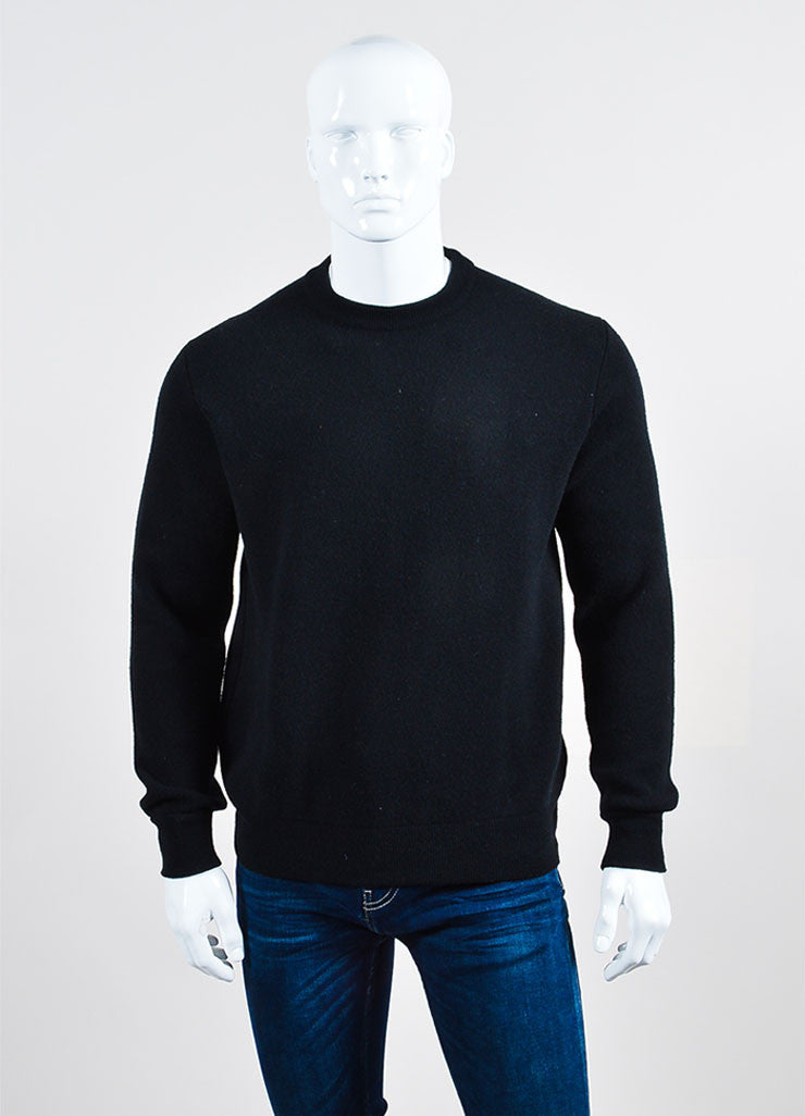 Men's Givenchy Black Orange Wool Elastic Strap Pullover Sweater Front