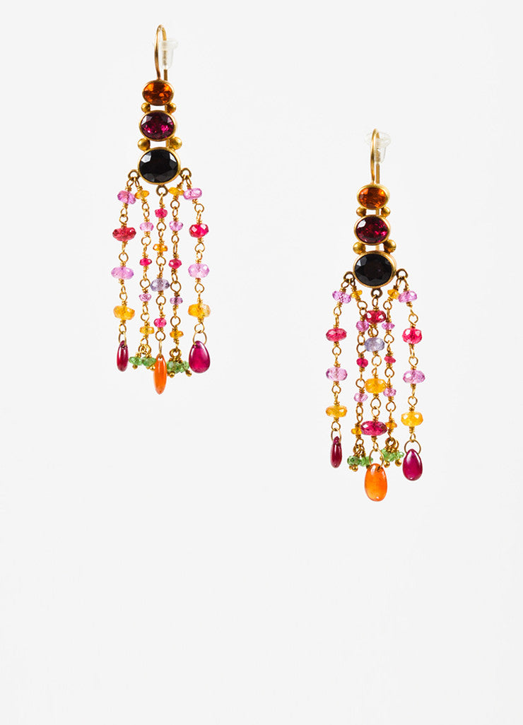 Mallary Marks 22K and 18K Yellow Gold Multicolor Pink Gemstone Chandelier Earrings Frontview