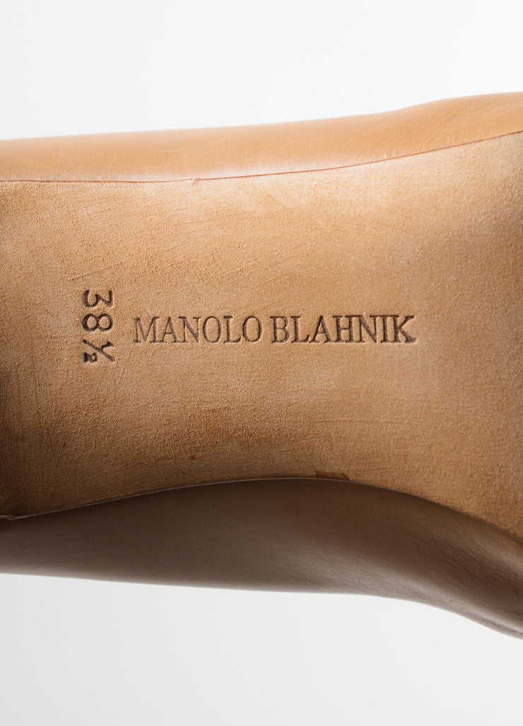 Manolo Blahnik Tan Leather Knee High Heeled Boots Brand