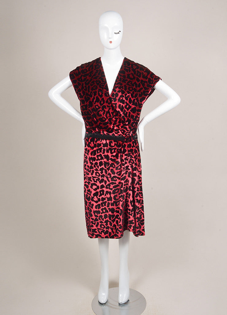 Marc Jacobs Burgundy Red and Black Velvet Leopard Print Beaded Wrap Dress Frontview