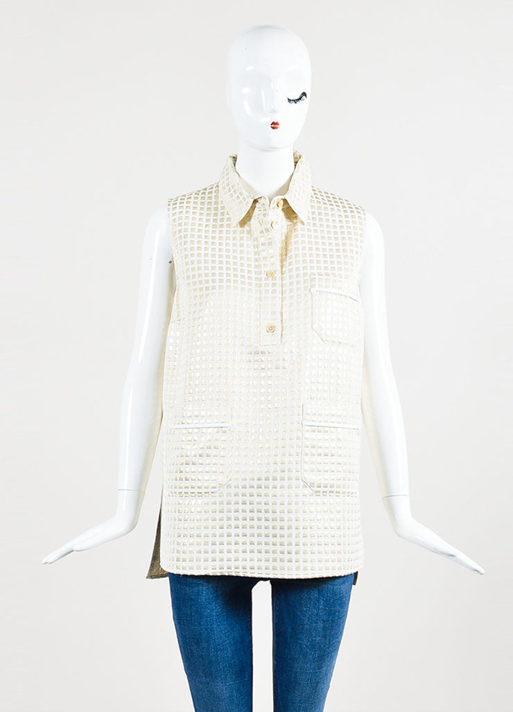 Marni Cream and Gold Metallic Cotton Blend Check Sleeveless Patch Pocket Tunic Top Frontview