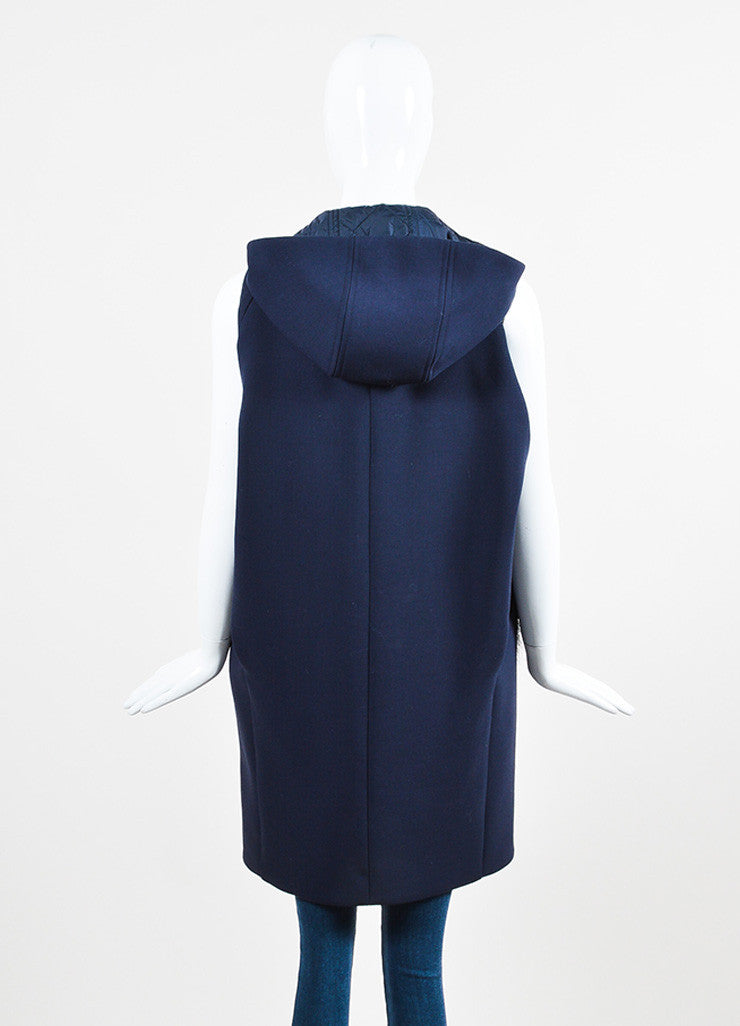 Navy Blue and Black Marni Wool Beaver Hair Pocket Hooded Vest Backview