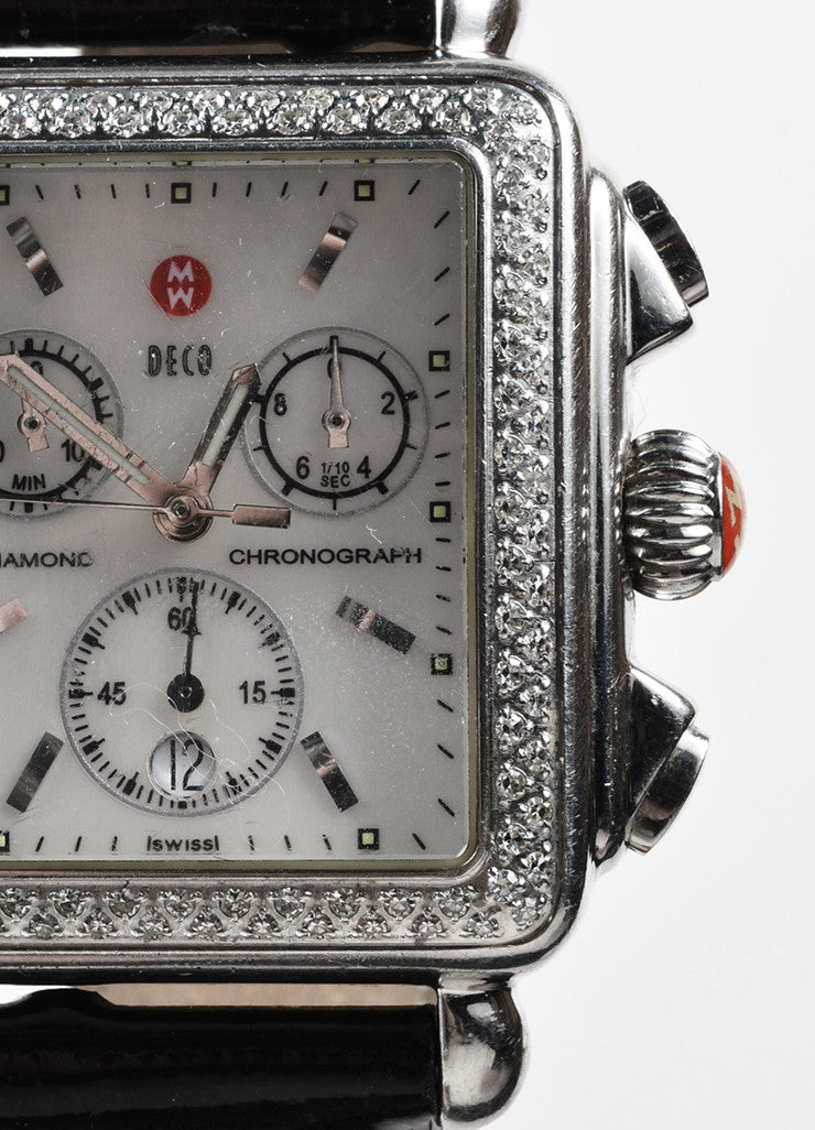 "Michele Stainless Steel, Black Patent Leather, and Diamond ""Deco"" Chronograph Watch Detail"