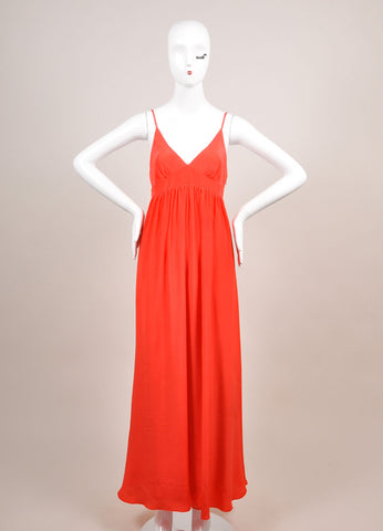 Miguelina New With Tags Poppy Red Sulma Silk Maxi Dress Frontview