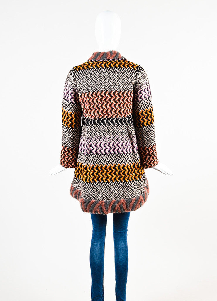 "Missoni Multicolor Crochet Knit Round Collar ""Cappotto"" Jacket Backview"
