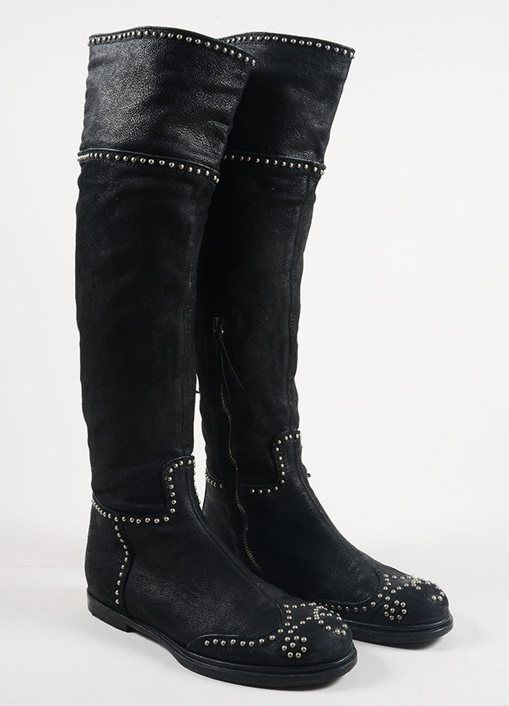 Miu Miu Black and Silver Toned Leather Studded Knee High Flat Boots Frontview