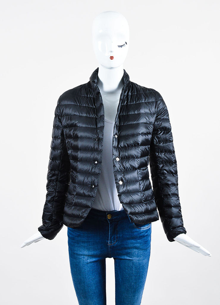 "Black Moncler Nylon Down Quilted ""Leyla"" Puffer Jacket Frontview"