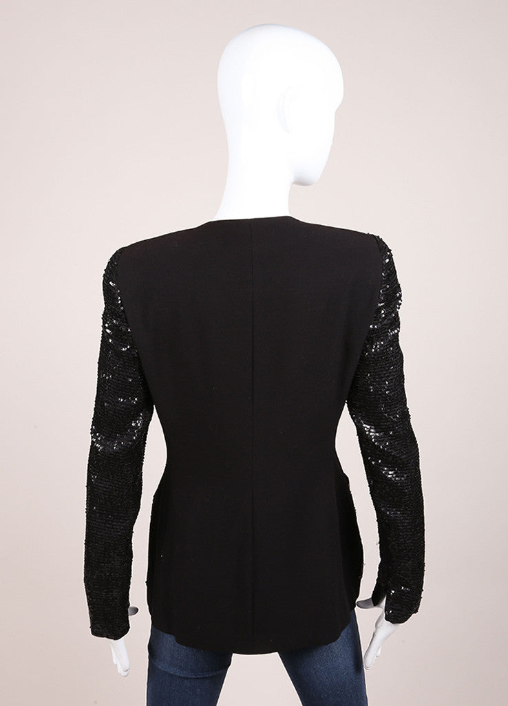 Oscar de la Renta Black Wool Blend Sequin Long Sleeve Jacket Backview