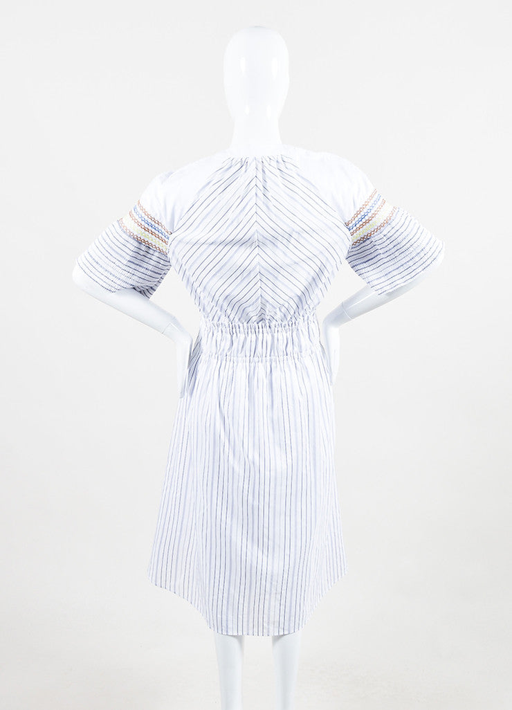 "Peter Pilotto White and Blue Cotton Stripe Smocked ""Step"" Short Sleeve Dress Backview"