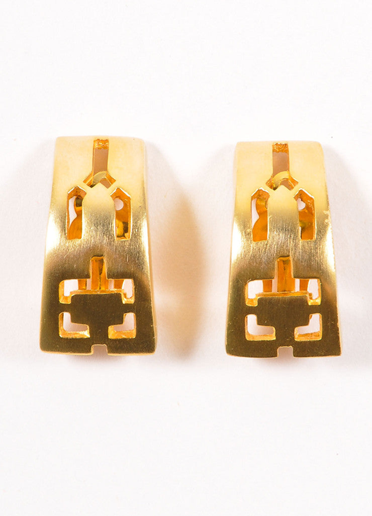 Pierre Cardin Gold Toned Curved Rectangular Cut Out Earrings Frontview