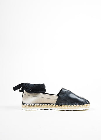 Black and Beige Pierre Hardy Leather Linen Lace Up Espadrilles Sideview