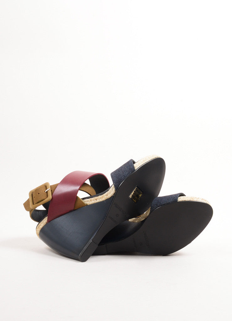 "Pierre Hardy Burgundy and Blue Leather and Denim ""BK58"" Sandal Wedges Outsoles"