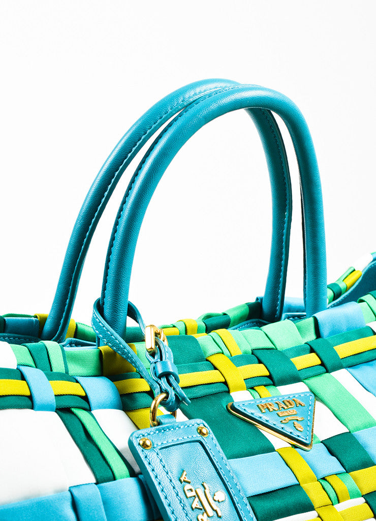 Prada Green, Teal, and White Tessuto Nylon Leather Trim Woven Tote Bag Detail 2