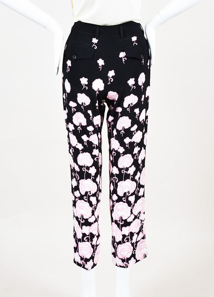Prada Black and Pink Silk Floral Print Straight Leg Ankle Trouser Pants Backview