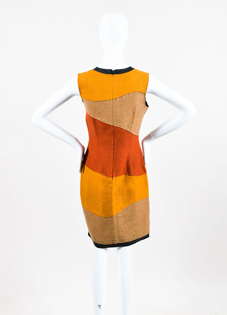 Proenza Schouler Yellow, Tan, and Rust Woven Wool Color Block Sleeveless Shift Dress Backview