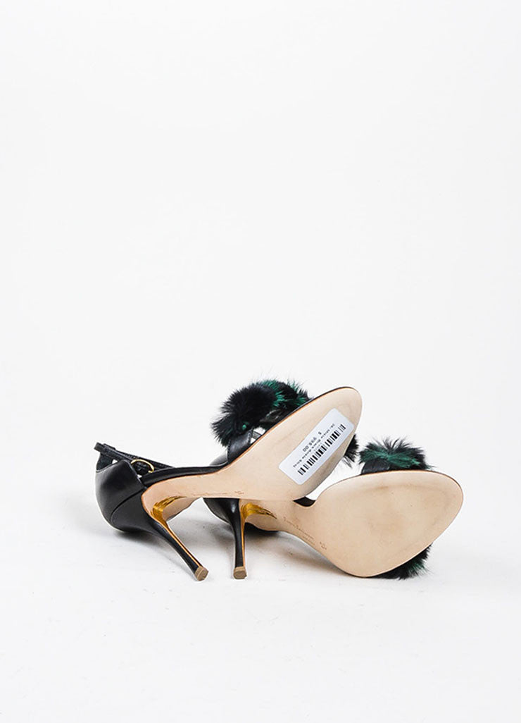 "Rupert Sanderson Black and Green Leather Fur ""Mikie"" Sandal Heels Outsoles"