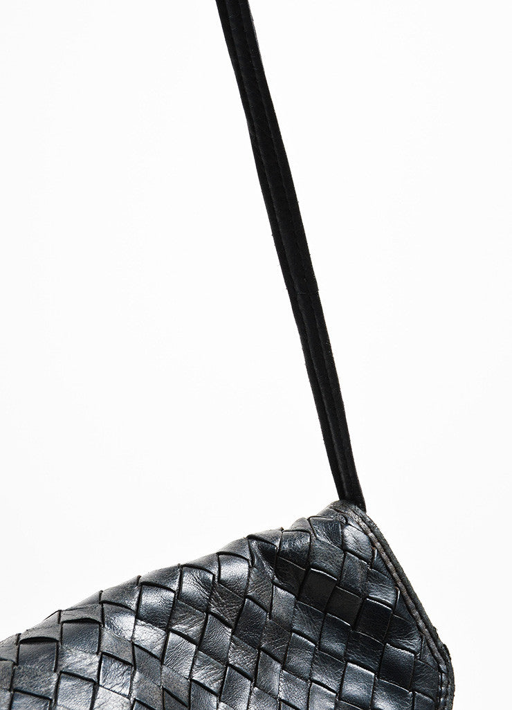 Bottega Veneta Black Woven Leather Shoulder Flap Bag Detail 2