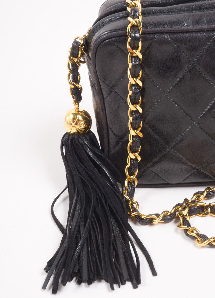 "Chanel Black Quilted Lambskin ""CC"" Tassel Chain Strap Shoulder Bag Detail 2"