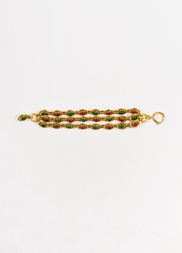 Chanel Gold Toned, Pink, and Green Gripoix Stone Multi Strand Link Bracelet Frontview 2