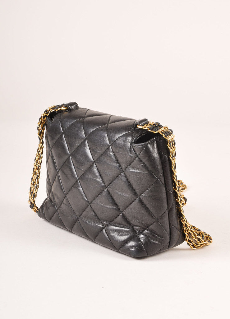 "Chanel Black and Gold Toned Quilted Leather ""CC"" Turnlock Chain Strap Mini Flap Bag Backview"