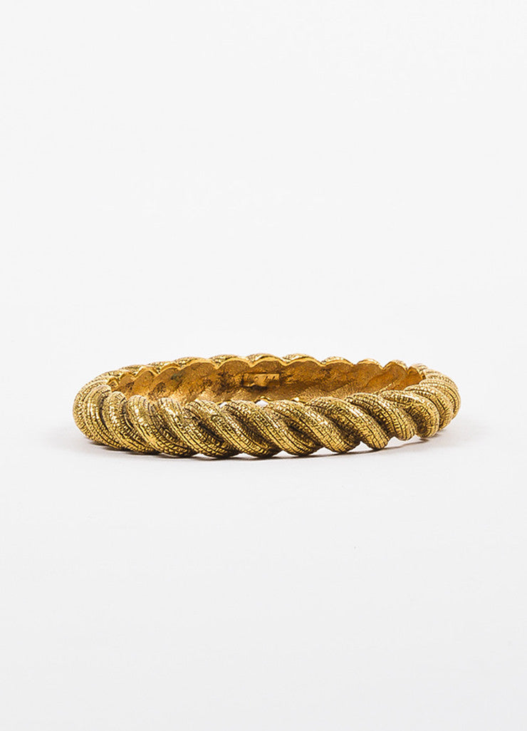 Chanel Gold Toned Textured Etched Rope Set of 3 Bangle Bracelets Detail