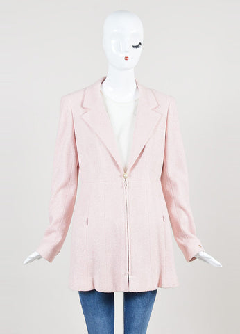 Chanel Pink Silk Knit Pearl Button Long Structured Jacket Frontview 2