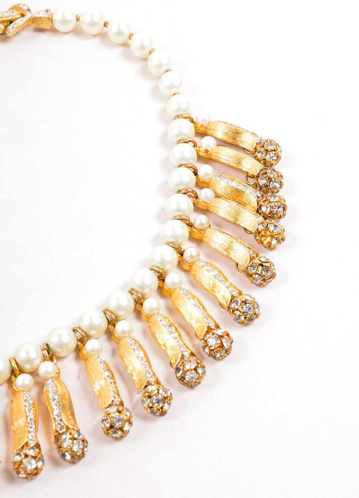 Vintage Faux Pearl and Gold Toned Rhinestone Dangling Choker Necklace Detail