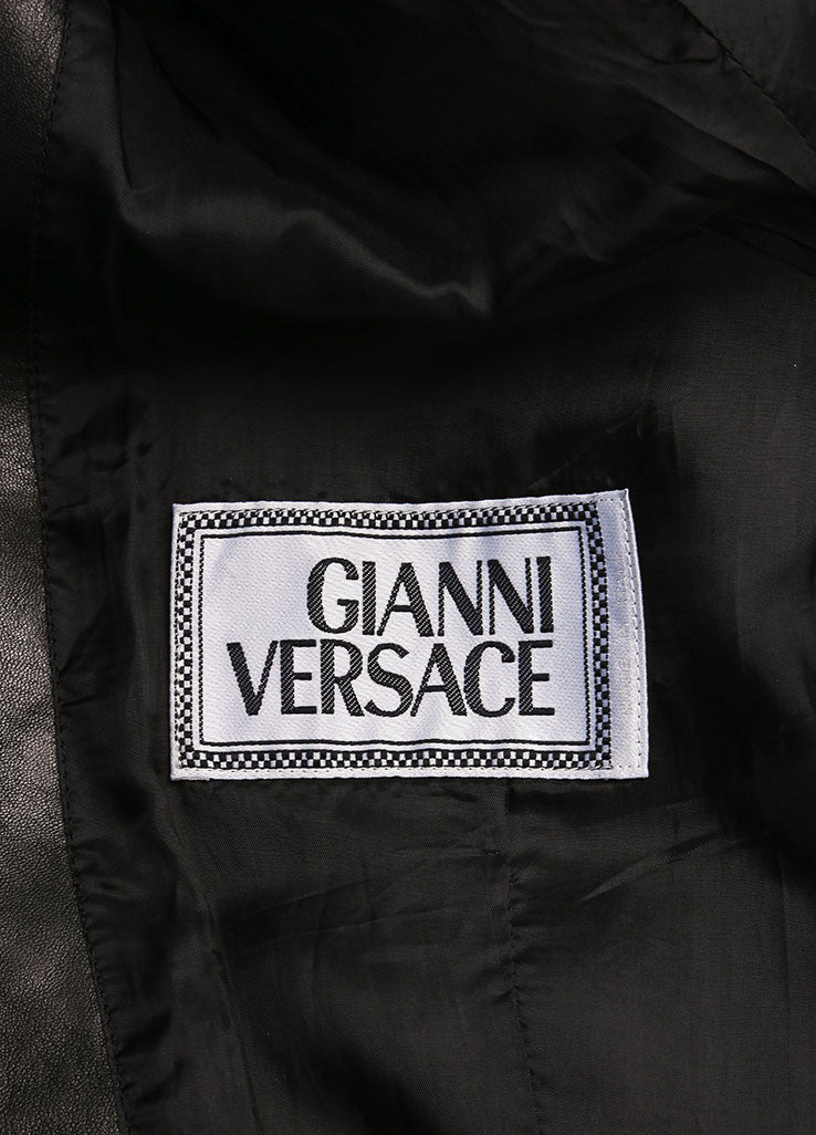 Gianni Versace Black Leather Crop Moto Belted Long Sleeve Jacket Brand