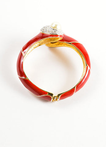 Kenneth Jay Lane Red Enameled Faux Pearl and Rhinestone Bangle Bracelet Topview