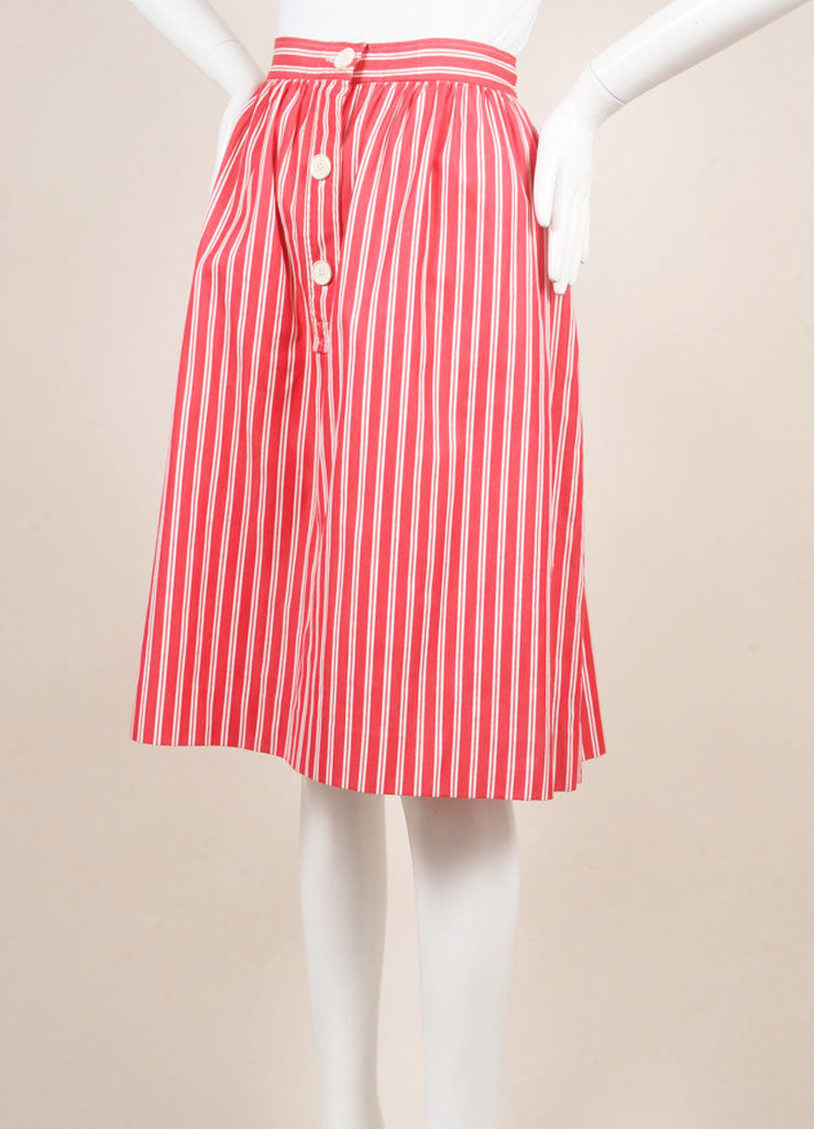 Saint Laurent Red and White Tweed Knit Pinstripe Pleated Skirt Sideview