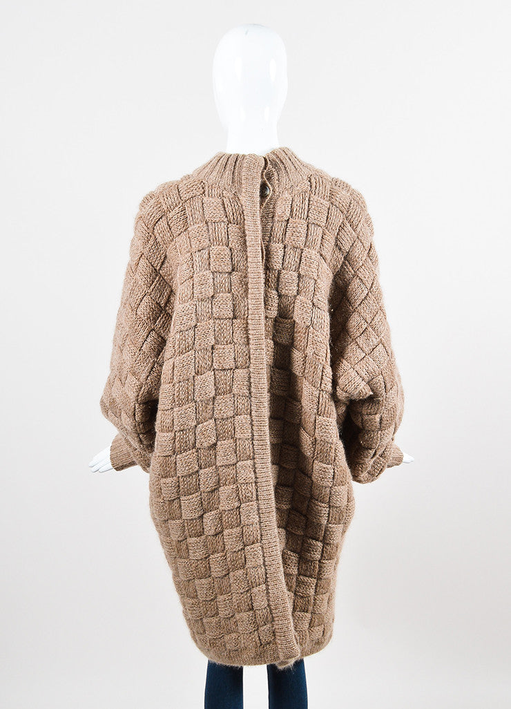 Salvatore Ferragamo Brown Mohair Woven Chunky Button Back Cardigan