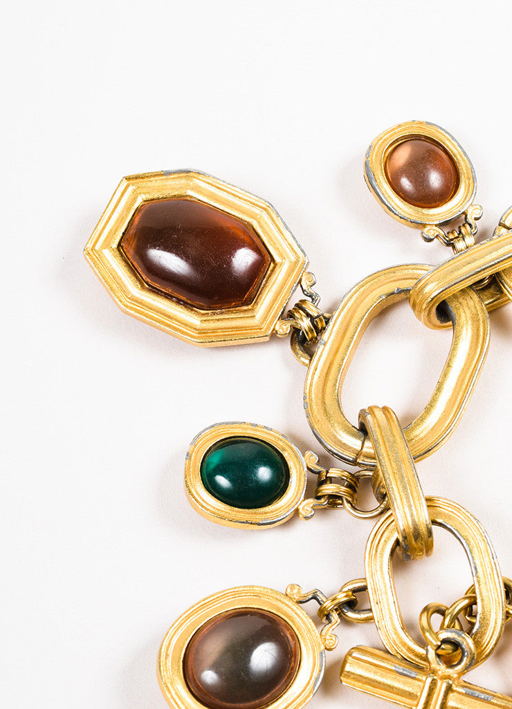 Yves Saint Laurent Gold Toned Metal Multicolor Glass Stone Charm Bracelet Detail