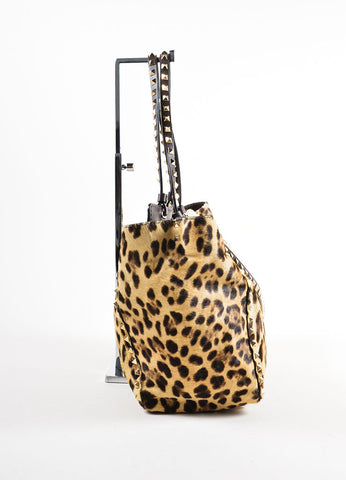 "Valentino Brown Leopard Print Pony Hair Leather ""Rockstud"" Tote Bag Sideview"