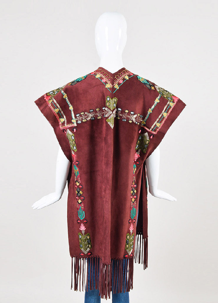 Valentino Burgundy, Green, and Gold Suede Embellished Poncho Backview