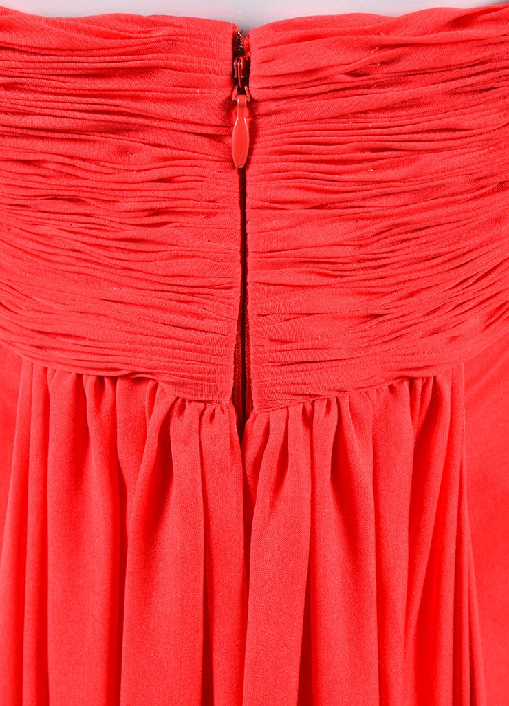 Valentino Red Chiffon Sweetheart Strapless Ruched Straight Empire Gown Detail