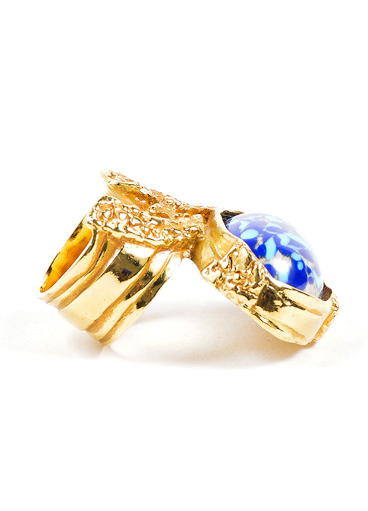 Yves Saint Laurent Gold Toned Textured Blue Enamel Stone Statement Ring Sideview