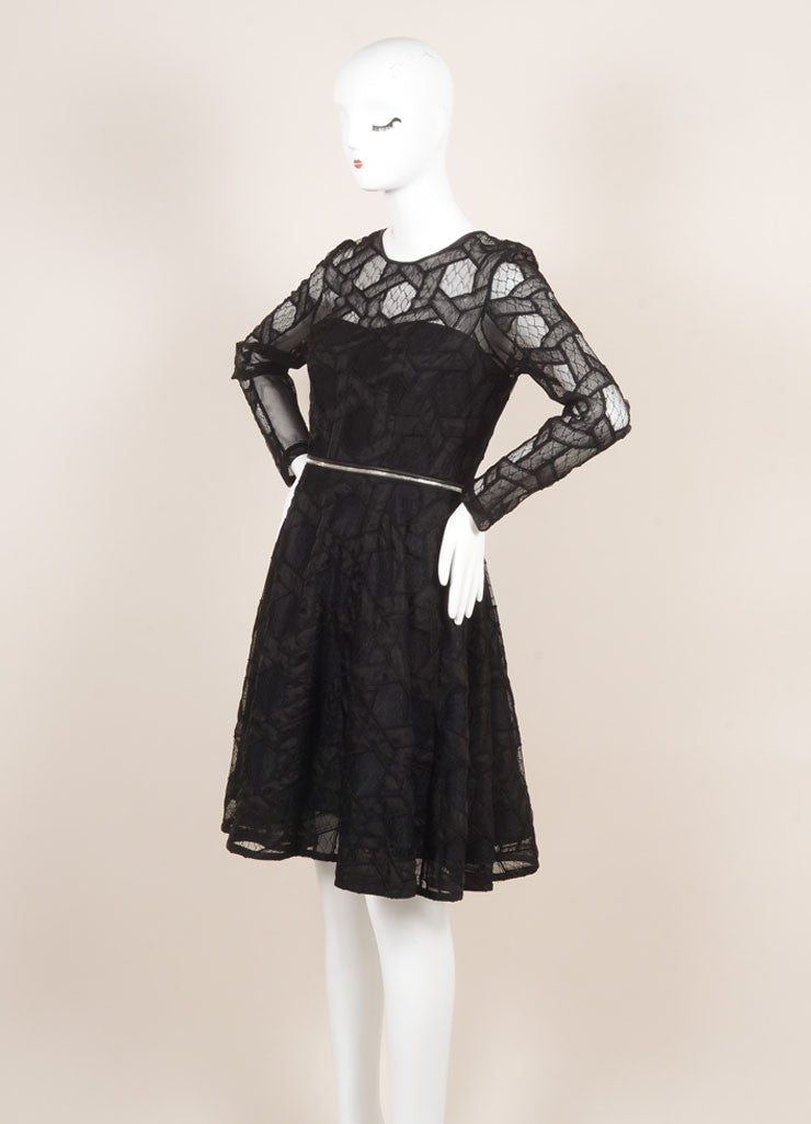 Yigal Azrouel New With Tags Black Leather Trim Lace and Mesh Two Way Zip Dress Sideview