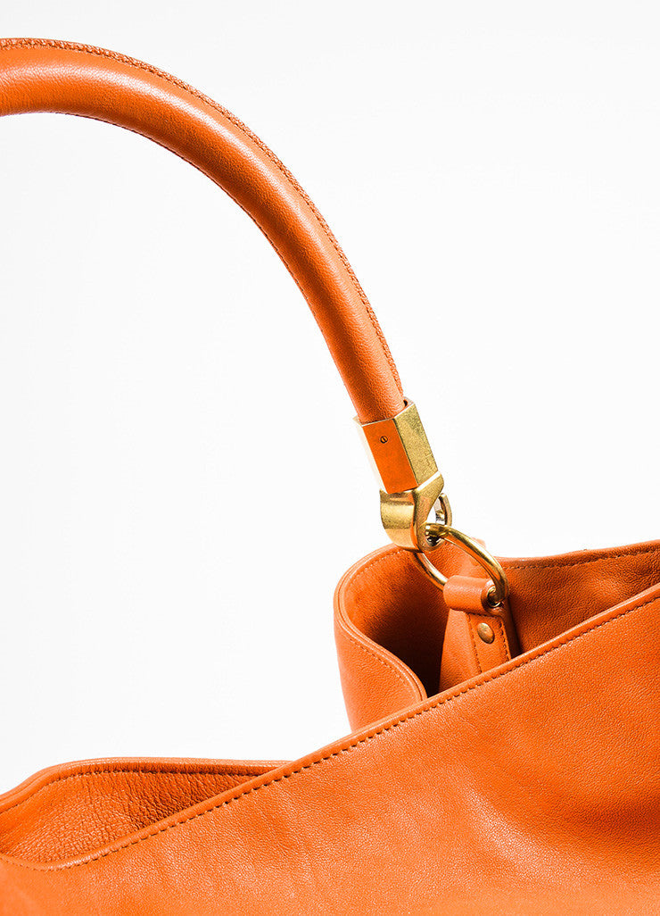"Yves Saint Laurent Orange Leather ""Roady"" Tote Bag Detail 2"