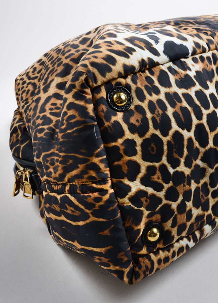"Yves Saint Laurent Brown, Black, and Cream Nylon Leopard Print ""Muse"" Bag Detail"