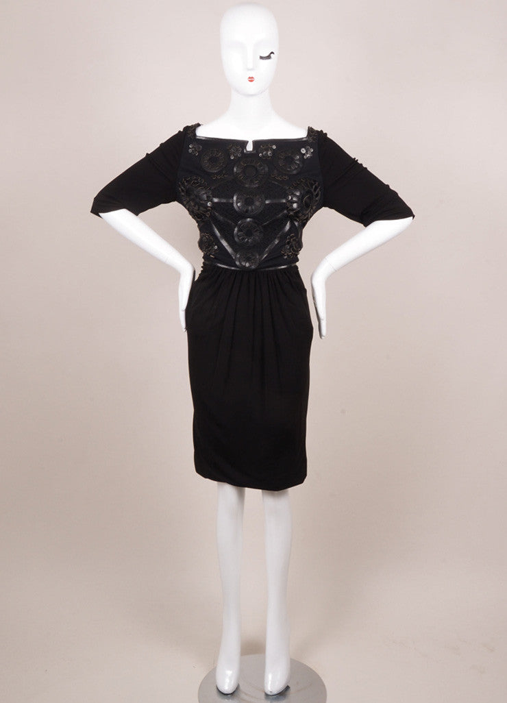 Kevan Hall Black Leather Embellishment Mesh Detail Half Sleeve Dress Frontview