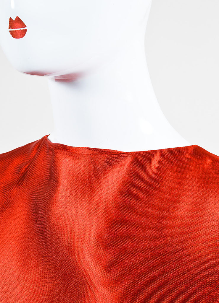 Lanvin Red Sateen Bow Draped Sleeveless Dress Detail