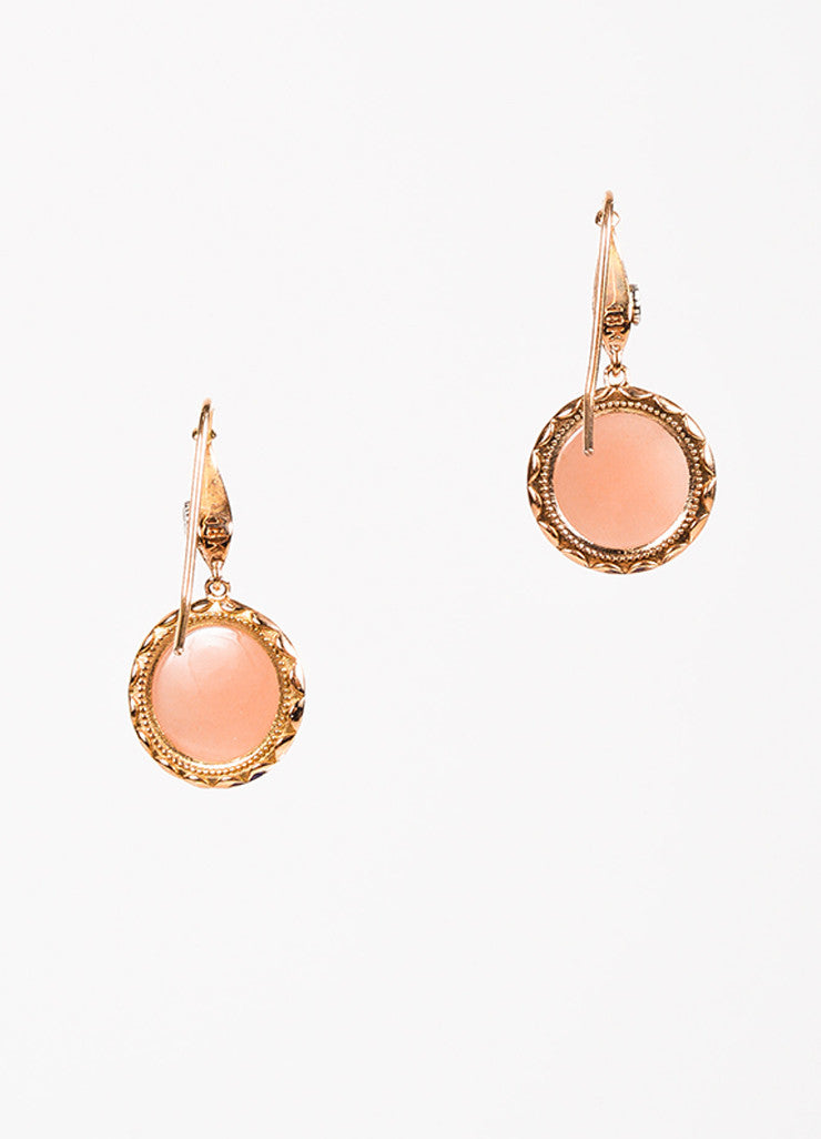 Tacori 18K Pink Gold Moonstone Circle Drop Earrings Back