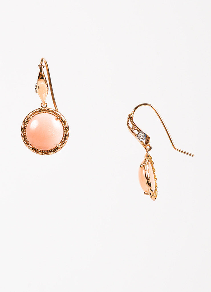 Tacori 18K Pink Gold Moonstone Circle Drop Earrings Detail
