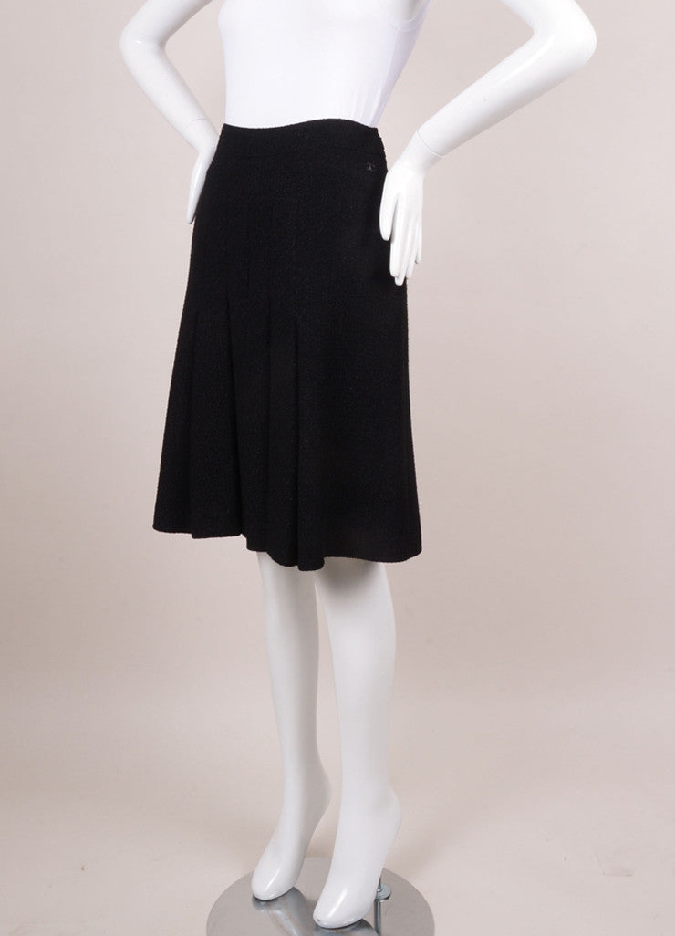 Black Glitter Knit Pleated Skirt