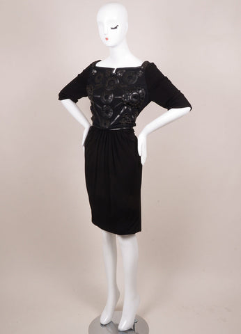 Kevan Hall Black Leather Embellishment Mesh Detail Half Sleeve Dress Sideview