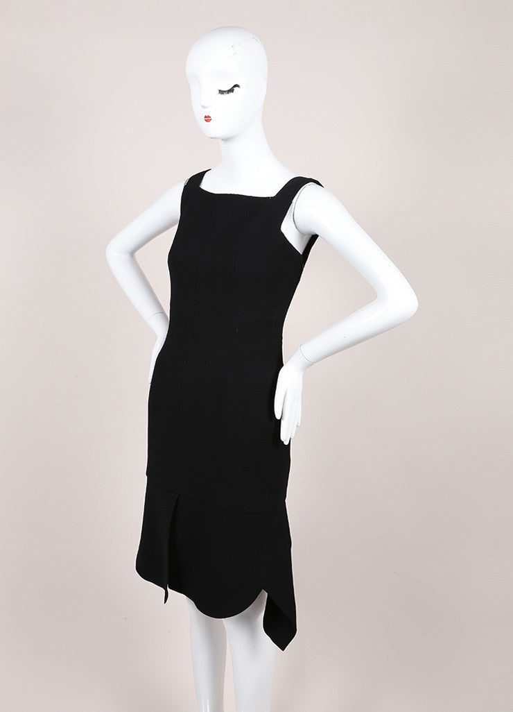 Alaia Black Sleeveless Square Neck Paneled Split Hem Crepe Sheath Dress Sideview