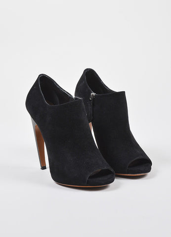 Alaia Black Suede Curvy High Heel Peep Toe Booties Frontview