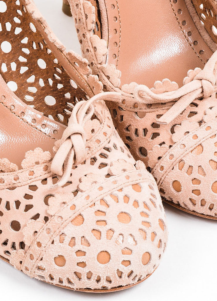 Blush Nude Alaia Suede Floral Perforated Round Toe High Heel Pumps Detail